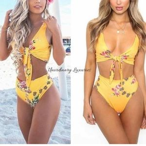 Other - New Item✨ Yellow Floral High Waisted Bikini 😍✨